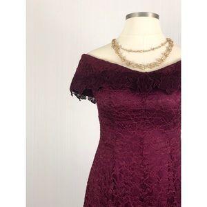 LAST CHANCE✅VTG 1980s Cachet burgundy lace dress